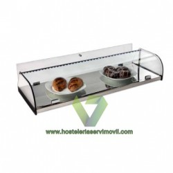 VITRINA NEUTRA CON PUERTA ABATIBLE Y BASE ACERO INOXIDABLE VCP LED