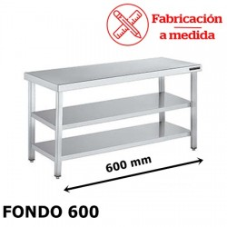 MESA CENTRAL DE ACERO INOXIDABLE CON 2 BALDA (600X600X850)
