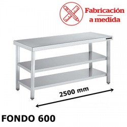 MESA CENTRAL DE ACERO INOXIDABLE CON 2 BALDA (2500X600X850)