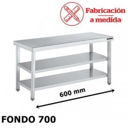 MESA CENTRAL DE ACERO INOXIDABLE CON 2 BALDA (600X700X850)