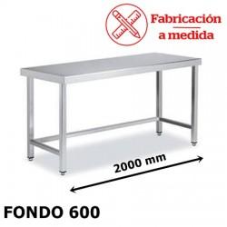 MESA ARRIOSTRADA CENTRAL DE ACERO INOX. ( 2000X600X850 )