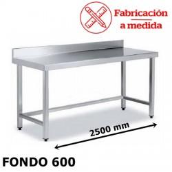 MESA ARRIOSTRADA MURAL DE ACERO INOX. ( 2500X600X850 )