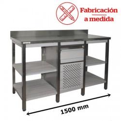 MUEBLE CAFETERO DE ACERO INOXIDABLE 1500 MM